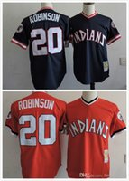 Wholesale Indians Throwback Jersey - Throwback Cleveland Indians MLB #20 Frank Robinson Retro Navy Blue Red Baltimore Orioles Vintage Baseball Jersey cheap Wholesale Size S-3XL