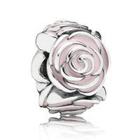 Wholesale Enamel Love Charm - Authentic 925 Sterling Silver Bead Charm Pink Enamel Rose Flower Garden Beads Fit Pandora Bracelet Bangle DIY Jewelry HKA3025