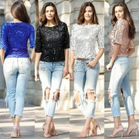Wholesale Women Fashion Elegant Half Sleeve Sequins Tops T Shirts