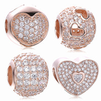 Atacado Original 925 Sterling Silver Bead Charm With Rose Gold Plated Clear Cubic Zircon Fit Pandora Bracelet Top Quality