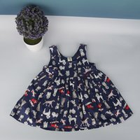 Wholesale Toddlers Blue Summer Dresses - Toddler Girls Sleeveless Multi Graphic Dress Printed Halter Tank Dress Allover Cartoon Princess Organic Cotton Soft High Quality Comfortable