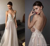 Wholesale Embroidered Plus Sized Wedding Dresses - 2017 Sexy Ivory Berta Wedding Dresses Deep V Neck Spaghetti Straps Embroidered Tulle Backless Summer Illusion Long Bridal Gowns For Beach
