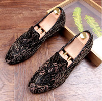 Wholesale Christmas Quinceanera Dresses - 2017 New Luxury Brand Designer Men Evening Quinceanera flat shoes Bud silk embroidery Homecoming Prom shoe Sapato Social Masculino 70