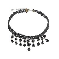 Wholesale European Bead Choker - Trendy Chokers Vintage European Luxury Lace Short Necklace With Black Gem Beads Tassel Fake Collar Statement Necklace