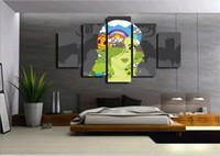 ingrosso dipinti ad olio figure astratte-5 pezzi di arte della tela pittura a olio astratta cute cartoon figura dipinti a parete per la decorazione della camera foto spray immagini modulari