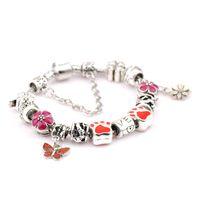 Wholesale Hj Diy - DIY hot sell women ladies beaded chians bracelets strands big holes New Arrival charm bangle silver bracelet-HJ-1622005