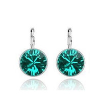 Wholesale Price k White Gold Plated Swarovski Crystal Sweet Candy Round Women Earrings Rhinestone Dangle Earrings Factory Price Colors
