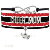 Wholesale Heart Cheer - Custom-Infinity Love Cheer Mom Speaker Charm Multilayer Bracelets Christmas Gifts Bracelets Red White Leather Custom Womens Bracelets