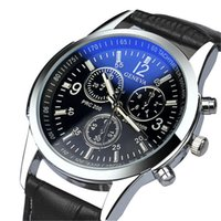 Wholesale- 2017 Hot Luxury Fashion Faux Leather Analog Watch Montres Hommes Splendid Cool Business Robe Hommes Montre Relogio Masculine Horloge