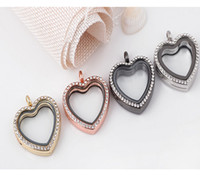 Wholesale Rhinestone Floating Locket Wholesale - hot sale 4Colors 30mm Heart Memory Locket Necklaces Rhinestone Floating Locket with Free Chain Mix DIY necklaces