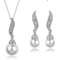 Wholesale Drop Pearl Wholesale Necklace Set - Rhodium Silver Plated Clear Rhinestone Crystal Diamante Drop Pearl Bridal Pendant Necklace and Earrings Jewelry sets