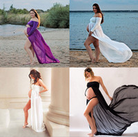 Wholesale Pregnancy Lace Long Dresses - Free Size White Maternity Lace Dress Gauze Photography Props Pregnant Women Long Dress Elegant Pregnancy Clothes - Free Shipping +Free Gift