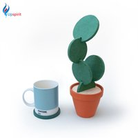 Wholesale Shape Place Holder - Wholesale- Household Creative DIY Cactus Shaped Coasters Nonslip Cup Coaster Heat Insulation Bowl Place Mat Pads Drink Holder