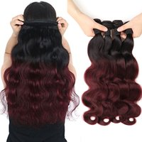 Ombre Brazilian Virgin Hair Weaves Two Tone 1B / 99J Vin de Bourgogne Red Peruvian Malaysian Body Wave Extensions de cheveux humains 4Pieces / Lot