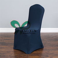 ingrosso coperte di sedia a banchetto blu navy-Blu Navy Per Wedding Spandex Chair Cover \ Lycra Banquet Chair Covers Prezzo di fabbrica