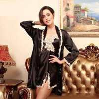 ff579f89bd Sexy nightgown Women satin pajama sets female sleepskirts sexy Lace Pajama  Nightwear Sleep Wear robe and skirt 2 pieces SJYT27