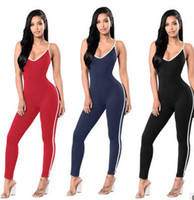 Wholesale Ladies Yoga Outfit - sell hot Women's Jumpsuits 6 color Harness Rompers Tight Yoga Outfits Outdoor fitness jogging clothes S-XL Ladies yoga pants