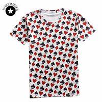 Wholesale wholesale play online - Summer style hip hop t shirt men women Playing cards print d t shirt poker T shirt casual short sleeve camisa masculina