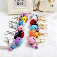 Wholesale Mixed Order Couples Rings - Cartoon cute metal candy color bells key ring pendant creative couple car bag pendant accessories KR049 Keychains mix order 20 pieces a lot