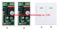 Wholesale Remote Ac Wall Switch - Wholesale- New AC 220 V 1CH Wireless Remote Control Switch System Receiver + Wall Panel Remote Transmitter Sticky Remote Smart Home Switch