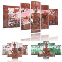 Emoldurado 5 painéis / conjunto Buddha Plum Blossom, genuíno pintado à mão Modern Home Decor Wall Art Pintura a óleo Canvas.Multi sizes Free Shipping 010