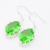Wholesale Blue Grass Plants - Luckyshine Christmas Day Two pieces 925 silver plated Square Unique charm Grass Green Quartz Drop Earrings for lady party gift