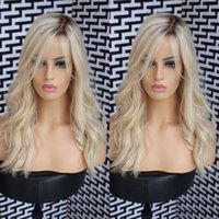 Wholesale Blond Human Hair Lace Wigs - Fashion Ombre blond Bodywave Lace Front Wig Glueless Long Natural Black blond Virgin Human Hair Wigs For fasihion Women