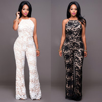 Wholesale Summer Rompers For Women - Free Shipping Lace Summer Jumpsuits Women Elegant Sheer Illusion Long Rompers 2017 Fashion Wide-leg Trousers For Woman FS1744