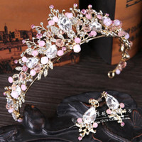 Wholesale Bead Jewerly - Romantic Pink and White Wedding Jewerly Set 2 Pieces Bridal Headpieces Wedding Accessory Cheap Price Beads Crystal Free Shipping