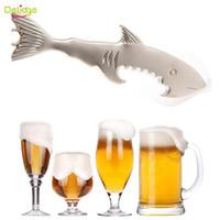 ingrosso apri di birra dello squalo-Delidge 20 pz 2 in 1 Shark Forma Apribottiglie Lega Portachiavi E Apriscatole Creativo Portachiavi Pesce Apribottiglie Portachiavi Apriscatole