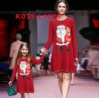 Wholesale Kids Swing Tops - Womens Girls Kids Xmas Santa Party Swing Flared Dress Christmas Long Sleeve Tops