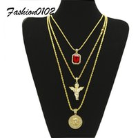 Herren Hip Hop Schmuck Set Iced Out Square Ruby Crystal Mit Bling Strass Angel Jesus Anhänger Halskette Set 20