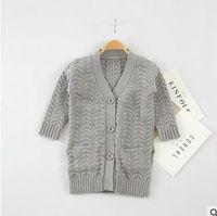 Wholesale Winter Weave Styles - Kids cardigan sweaters fashion girls V-collar Twist weave long outwear children Knitting sweaters Autumn Winter kids clothing G0858