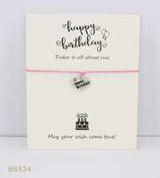 Wholesale Happy Birthday Bracelet - Silver Tone Heart Happy Birthday Charm Bracelets Bangles Gifts Women Girls Adjustable Friendship Statement Jewelry With Card