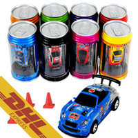 Wholesale Xmas Gift Boxes Wholesale - 48pcs lot Mini RC Racing Car 1:64 Coke Zip-top Pop-top Can 4CH Radio Remote Control Vehicle 9803 LED Light 8 Colors Toys for Kids Xmas Gift