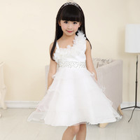 Wholesale Teenager Pageant Dresses - Flower Girls Dress Princess Pageant Formal Dress Party Kids Dress Clothes Girls Knee Length Bridesmaid Teenager Summer
