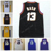 Wholesale Embroidery Sports Jerseys - Men 13 Steve Nash Throwback Jerseys Basketball Sport 10 Steve Nash Jersey Retro For Sport Fans Embroidery Team Color Black White Purple Blue