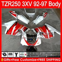 Wholesale Fairings For Yamaha - gloss white 8gifts Body For YAMAHA TZR-250 3XV TZR 250 92 93 94 95 96 97 88NO41 YPVS TZR250 1992 1993 1994 1995 1996 1997 red white Fairing