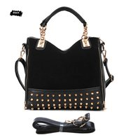 Vente en gros- New Fashion Women Rivet Studded Sac à main Tote Pu Leather Shoulder Femme Messenger Bag Cross Body Sacs pour dames Bolsa
