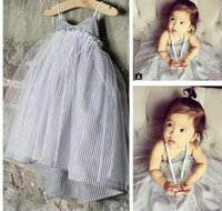 Wholesale Girls Tweed Dress - 2017 summer INS hot baby girl dress Tulle tutu Strap neck sleeveless dress Middle little girl toddler striped dress Cute 1T 2T1T 2T 3T 4T 5T