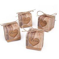 cajas de boda al por mayor-Caja de dulces de papel kraft corazón hueco amor cajas de regalo decoración del banquete de boda fiesta de bienvenida al bebé faovrs 50 unids / lote nueva