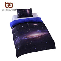 Wholesale Unique Printed Bedding - Wholesale-2016 New Galaxy Bed Set Earth Moon Print Gorgeous Unique Design Outer Space Quilt Cover Set