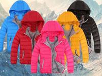 erkek çocuklar kışlık ceketler aşağı toptan satış-Toptan 2017 çocuk Giyim Erkek ve Kız Kış Sıcak Kapüşonlu Ceket Çocuk Pamuk-Yastıklı Aşağı Ceket Çocuk ceketleri 3-10 Yıl