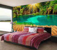 Wholesale lake mural - Beautiful 3D Sunshine Lake Trestle Greenwood TV Wall mural 3d wallpaper 3d wall papers for tv backdrop