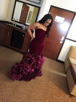 Wholesale Organza Blue Party Dresses - 2017 New Burgundy Long Mermaid Prom Dresses Rose Floral Flowers Tiered Sweetheart Velvet Plus Size Formal Party Gowns Evening Dress Vestios