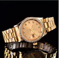 стальные браслеты оптовых-38 мм автоматический календарь Даты роскошь мода золото и серебро браслет из легированной стали пояса Механизм Кварцевые часы мастер человек подарки