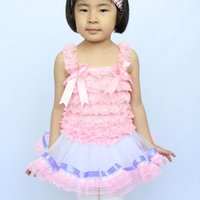 Wholesale Girl S Vest Tutu Dress - New Girls Tutu Vest Dresses Pink Sling Cute Lace Summer Flod With Bow-knot For Children Girls 1-4 Years Free shipping