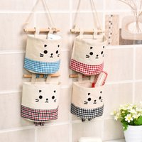 Wholesale Foods Contain - Home Cotton Linen Storage bag Creative Wardrobe Hang Bag Wall Pouch Cosmetic Toys Organize Pockets stationery Contain for Room