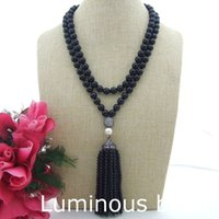 Wholesale Jade Faceted 8mm - FC072010 40'' 8MM Faceted Onyx White Pearl Necklace CZ Pave Pendant FC111105 41'' Blue Jade Round Agate White Pearl CZ Pendant Necklace