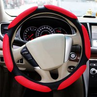 Wholesale Leather Sports Steering Wheels - Sandwich Sport Type Car Steering Wheel Cover Anti-Slip 38CM 15 inch winter high quality car steering wheel covers